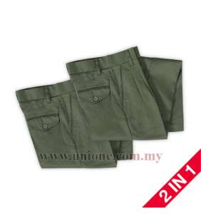 2 in 1 ! PLEATED OLIVE GR. LONG PANTS (U2484I)