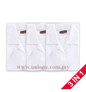 3 in 1 ! ANTI-WRINKLE COTTON WHITE BLOUSE (U3500)