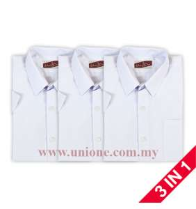 3 in 1 ! ANTI-WRINKLE COTTON WHITE S.S SHIRT (U3511) SZ22